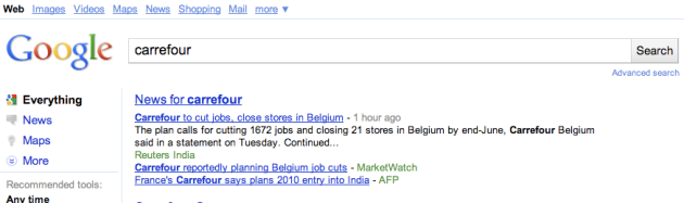 "Google screenshot ""Carrefour"" keyword"
