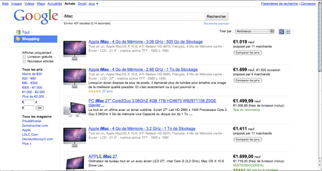Google Shopping - Bèta in France : search for iMac