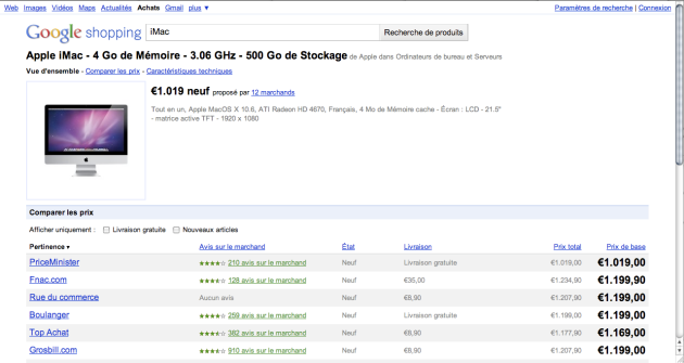 Google shopping : bèta in France - price comparison