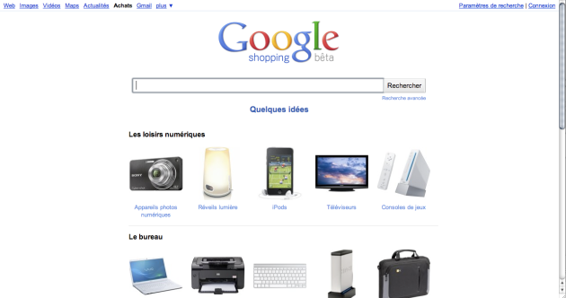 Google Shopping France - homepage