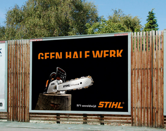 "Importance of strong copy for adverts: ""No half work"" (with characters sawn in half))"
