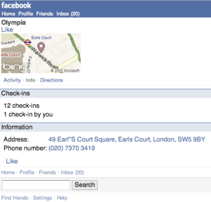 Facebook Places @ Olympia London