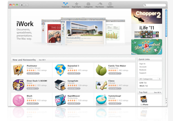 Mac app store screenshot - credits picture go to readwriteweb as we still run Mac OS 10.5.8