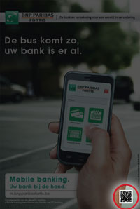 bnp paribas fortis qr code in advert for mobile banking