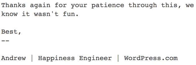 E-mail from the Happiness Engineer at WordPress