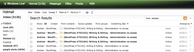 Andrew, WordPress's Hapiness Engineer send me 6 e-mails.