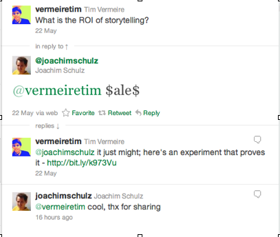 Twitter conversation with @joachimschulz about ROI of Storytelling