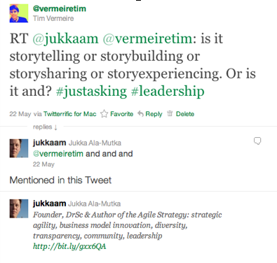 Twitter conversation with @jukkaam about Business Storytelling