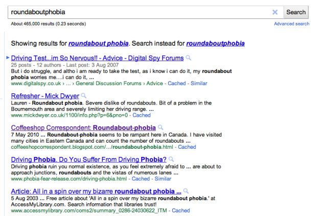 Roundaboutphobia - Google serps