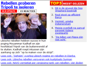 Rebels Journalistic Framing - HLN.be (rebellen = rebels in Dutch)