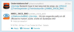 NMBS employees want to officialize their activities on social media - conversation on Twitter