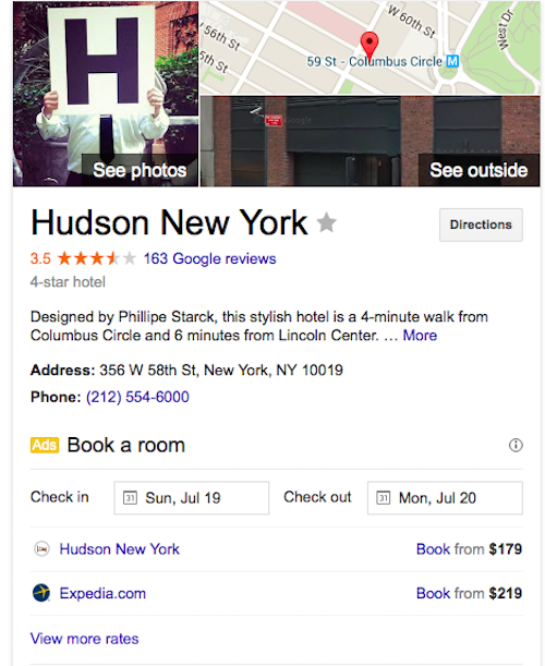 Book hotel in Google search - Semantics at work?